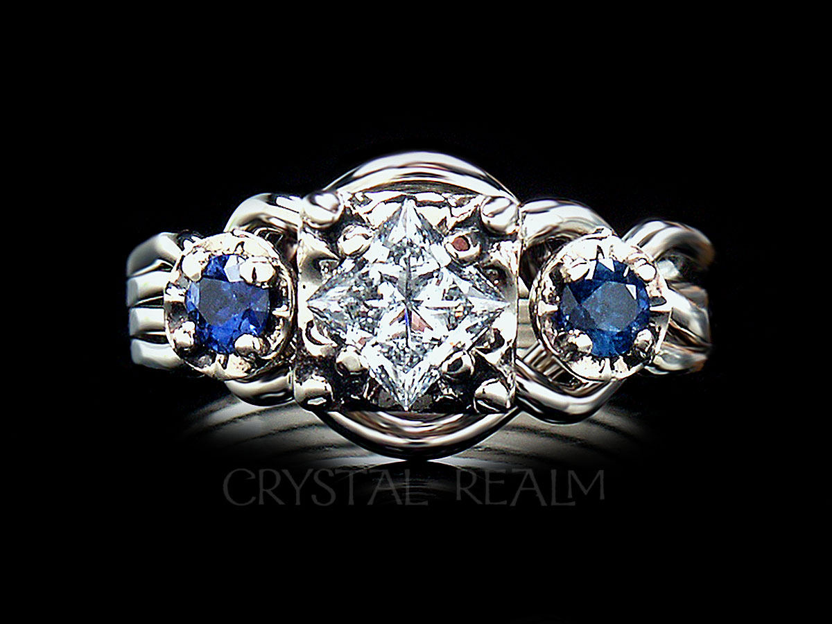 Guinevere royale diamond four band puzzle ring with side sapphires