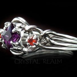 amethyst and poppy topaz three stone engagement ring