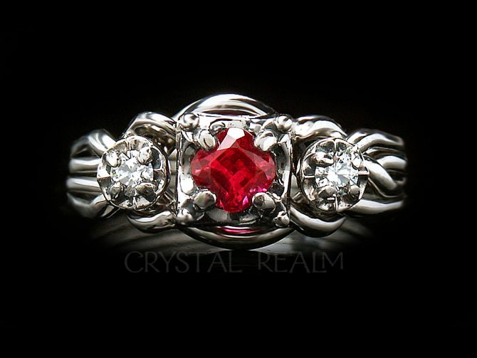 Guinevere Royale Puzzle Ring with Lab-Created, Antique Square Ruby and Genuine Diamonds