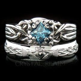 4 piece puzzle ring with half carat princess blue diamond and celtic claddagh ring