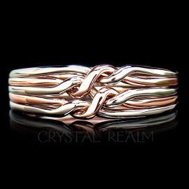 Five band chain puzzle ring in 14k yellow, rose, and white gold