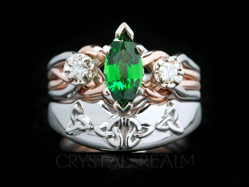 Tsavorite garnet and diamond engagement puzzle ring and Celtic trinity knot shadow band