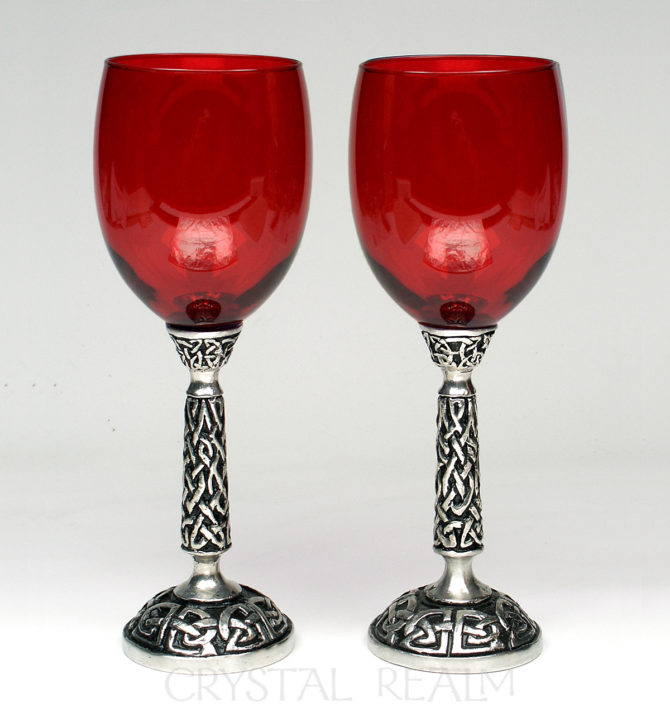 celtic red wine glass