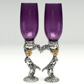 rose heart toasting glasses ko87 purple 1