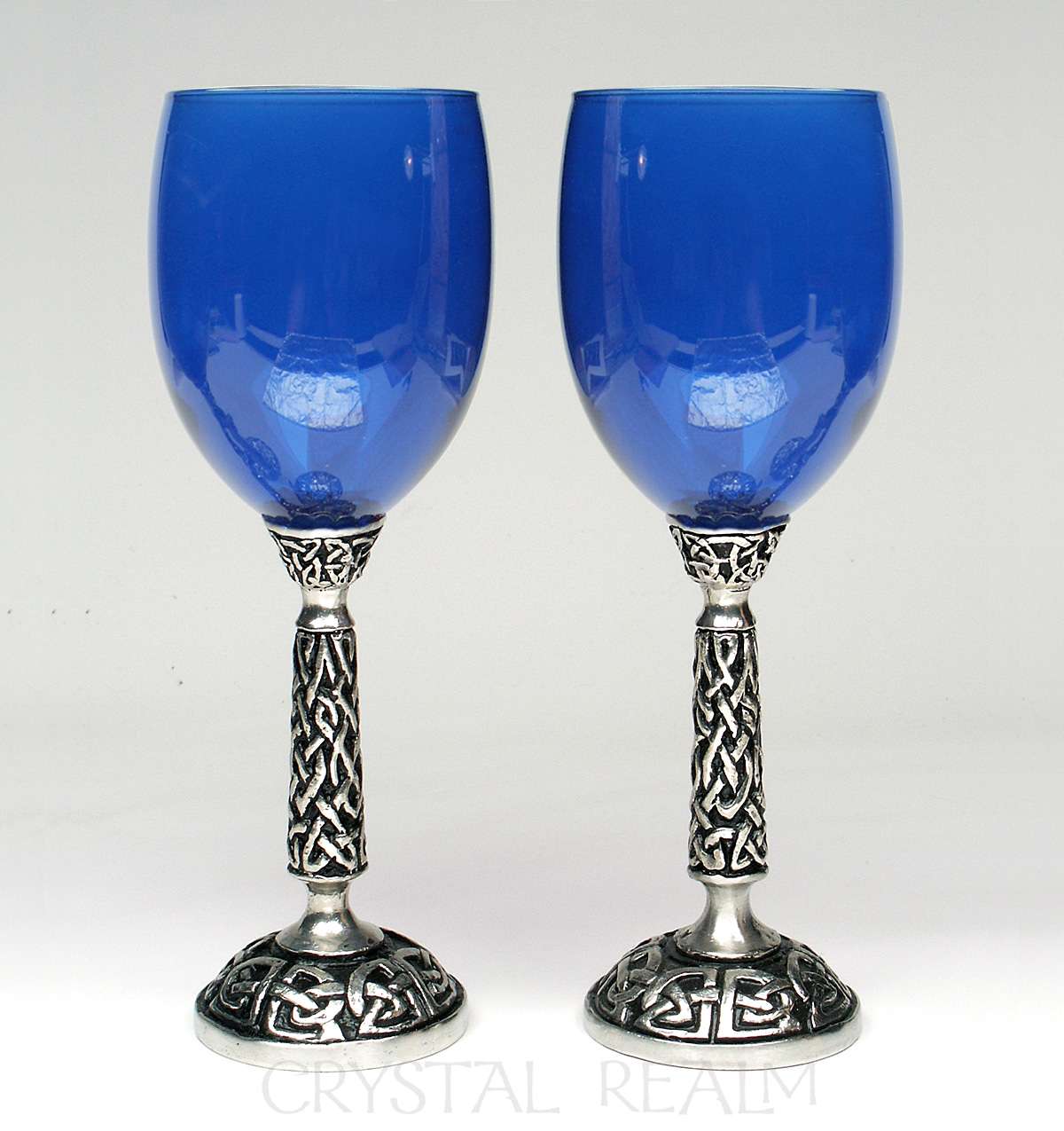 Royal blue wine glass or communion goblet with Celtic knotwork stem