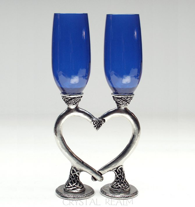 Royal blue champagne flutes with Celtic bases