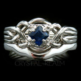 Guinevere Engagement Puzzle Ring with Princess-Cut Sapphire and 2mm Shadow Band