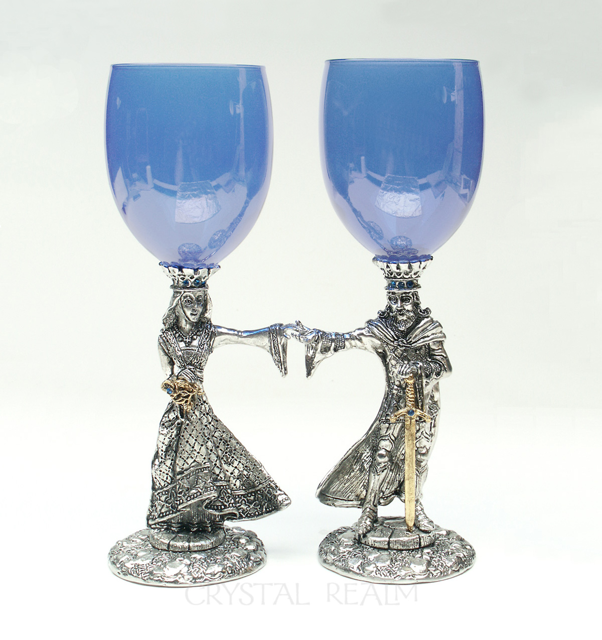 Arthur and Guinevere sapphire blue toasting glasses in pewter with 23k gold and austrian crystal trim