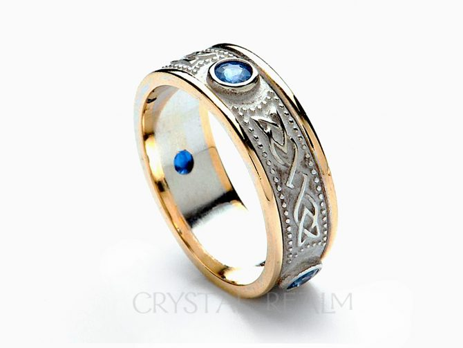 Celtic Shield Band with Three Sapphires, 14K White Gold with 14K Yellow Gold Trim (Sizes 4 to 9)