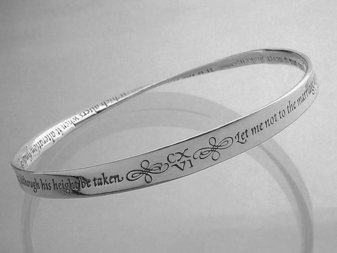 Sterling Silver Bracelets - Shakespeare's Sonnet 116 Mobius Strip Bangle