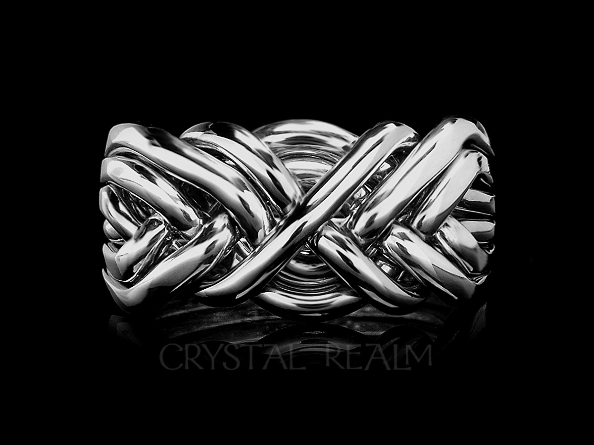 Men's sterling silver 6 band puzzle ring