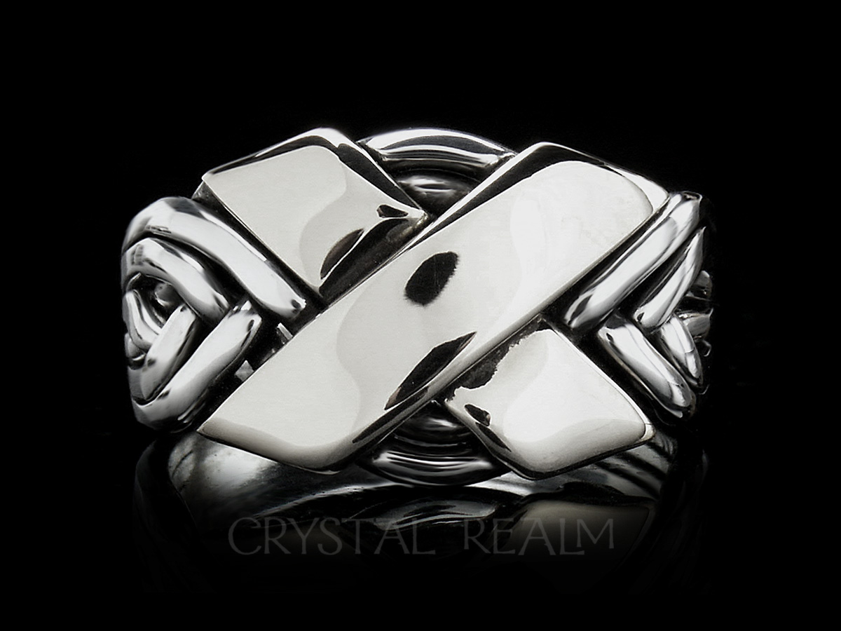 Six band puzzle ring in sterling silver with a wide cross in 14k white gold