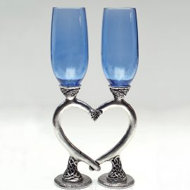 smooth celtic heart blue champagne glasses ko08 sapphire
