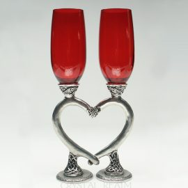 red celtic heart champagne glasses