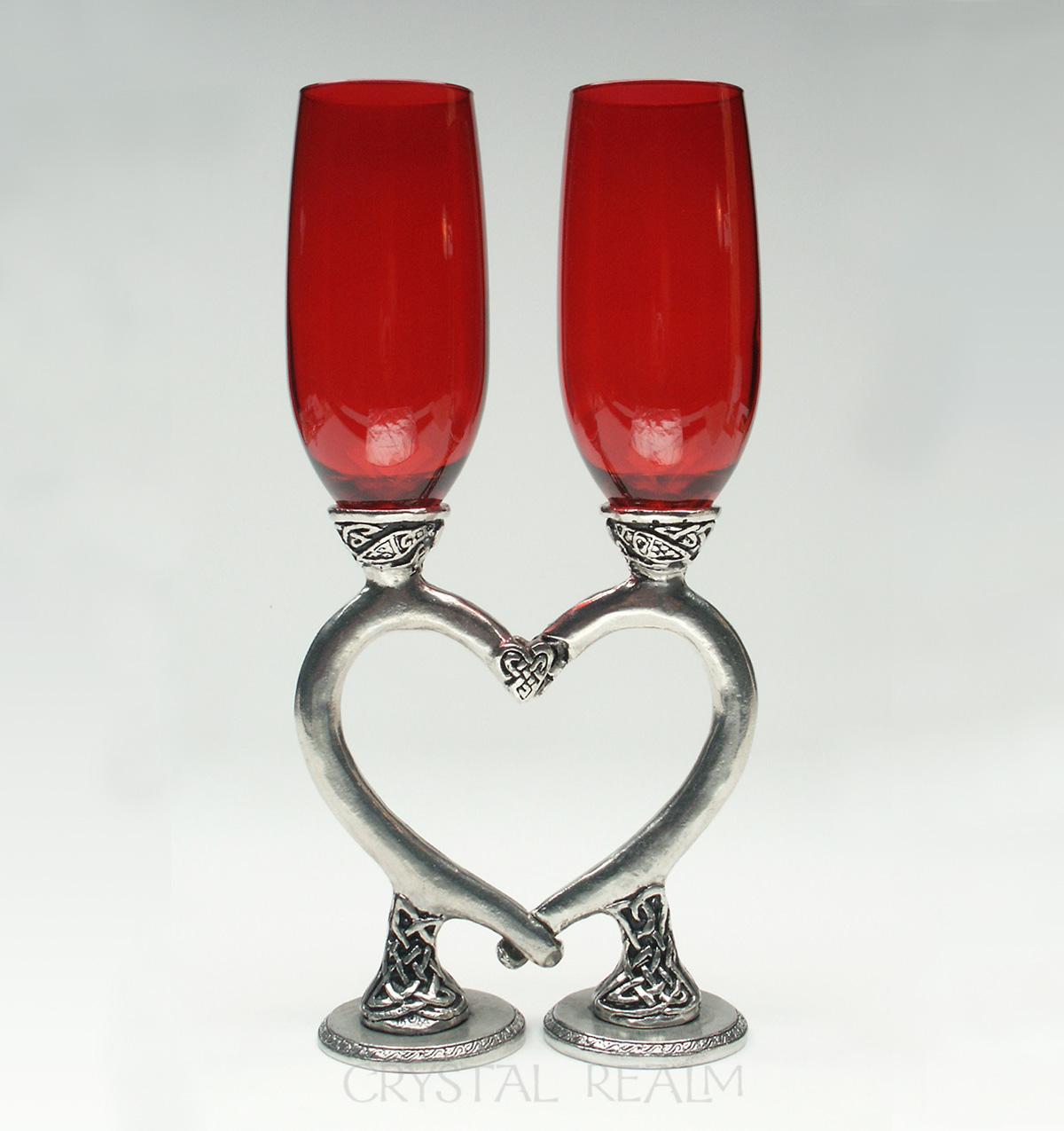 red celtic heart champagne glasses