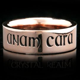14K rose gold 'anam cara' ring meaning 'soul friend' in a Gaelic medieval font