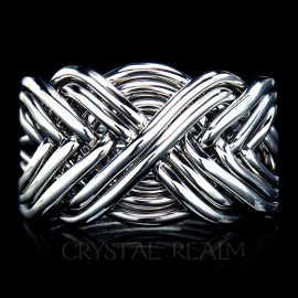 Ten Band Puzzle Ring, Heavy Weight in 14K White Gold