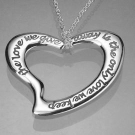 the only love we keep sterling silver heart necklace st116n