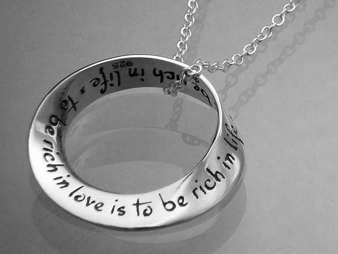 To Be Rich in Love is to be Rich in Life Sterling Silver Necklace