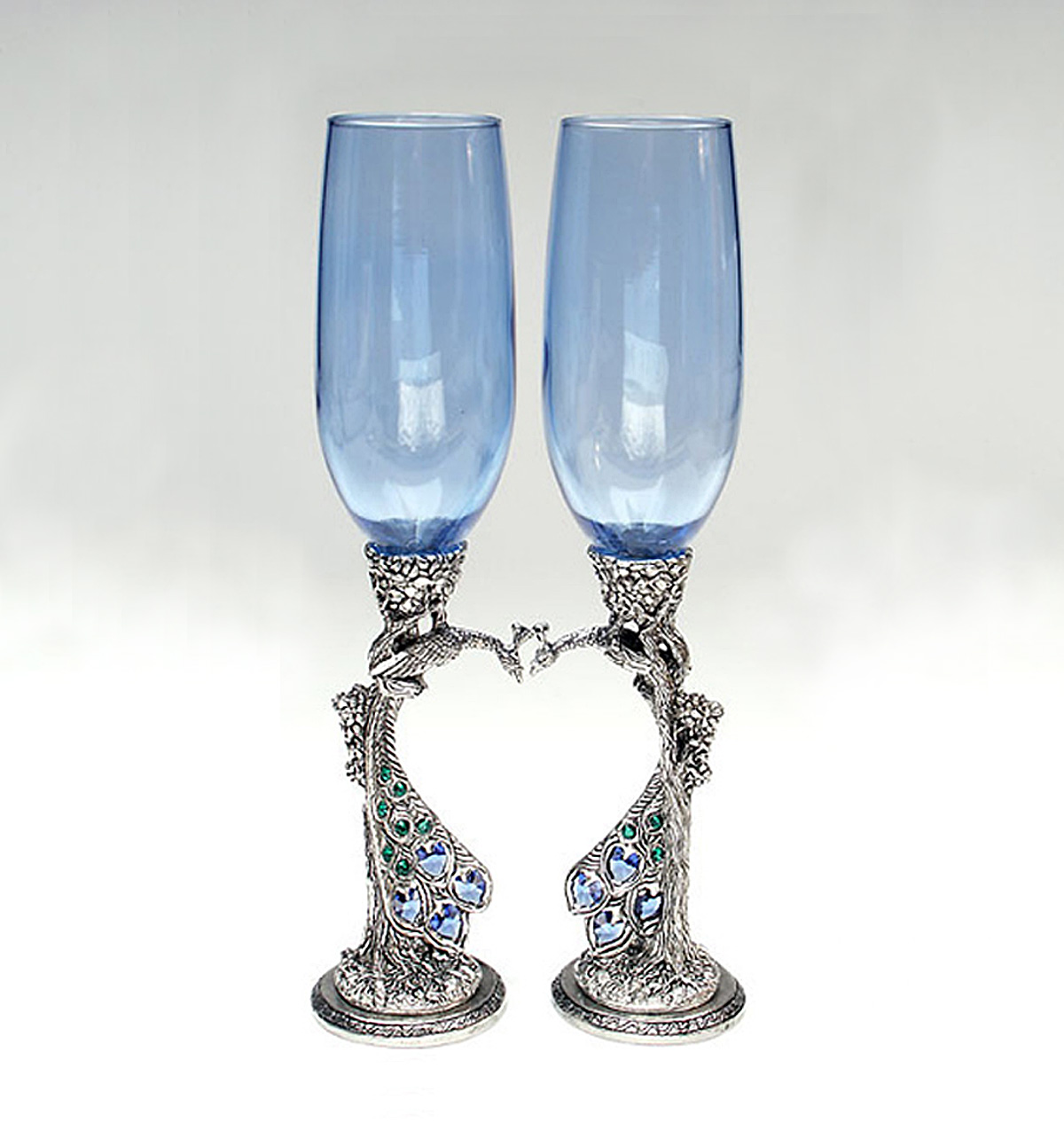 Blue toasting glasses with peacock stems and Austrian crystals