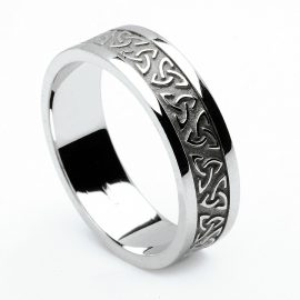 A Celtic trinity knot band in 14K white gold with block trim - a men's or women's wedding band