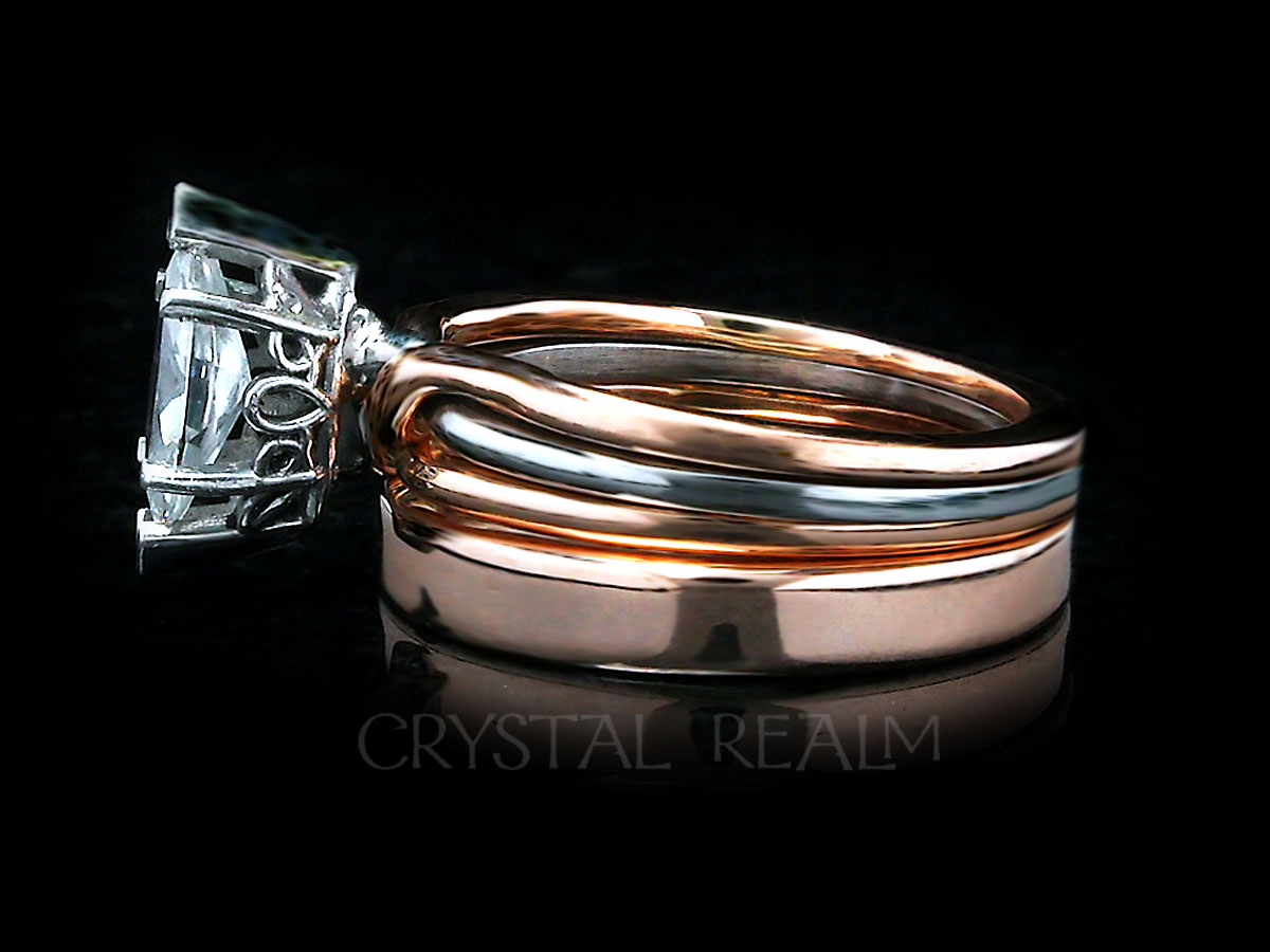 Trinity puzzle ring with marquise diamond and shadow wedding band