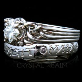 "Guinevere Diamond Puzzle Ring with Hand-Engraved ""Love Conquers All"" Posy Ring, Platinum"