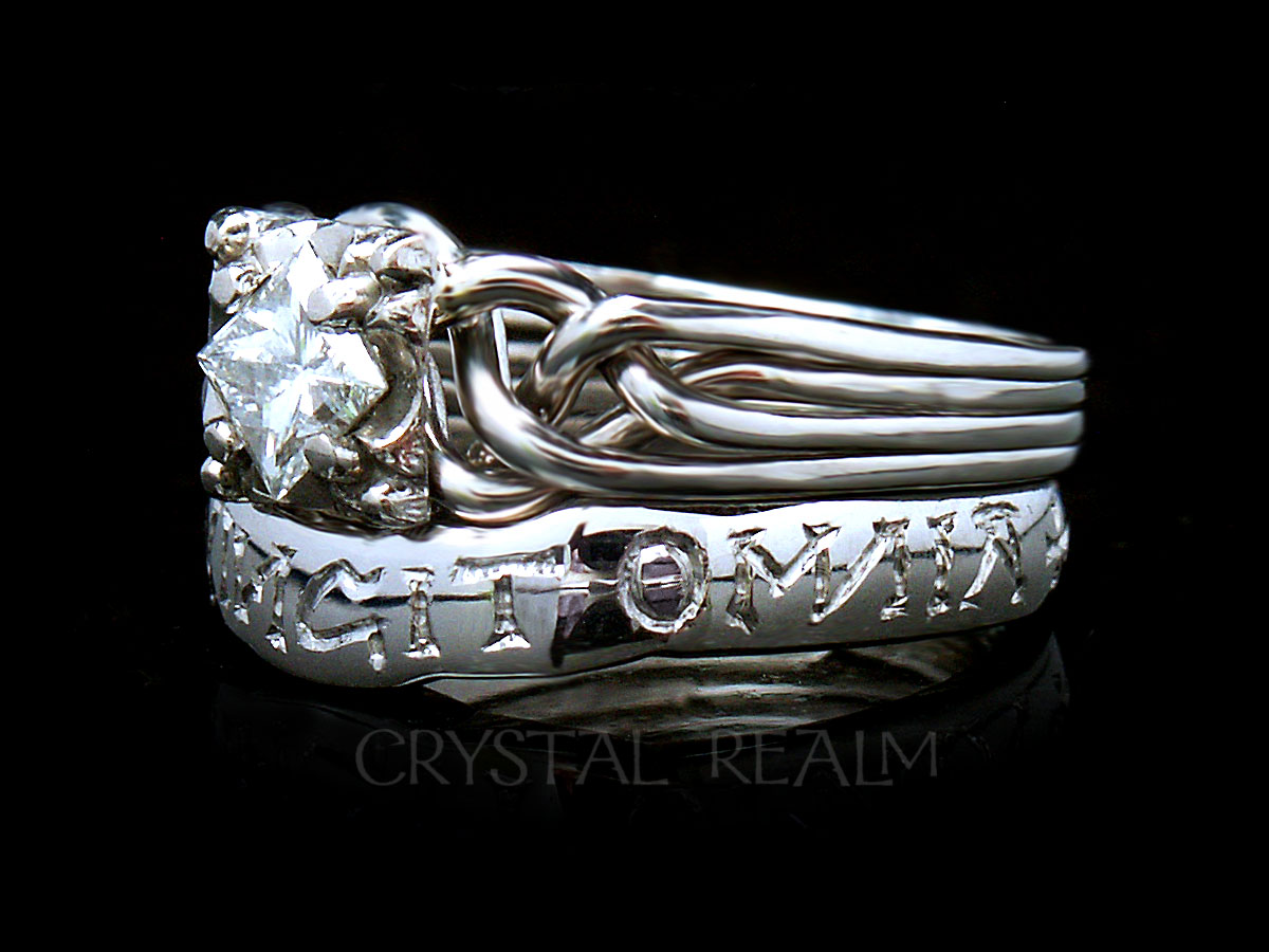 Guinevere Diamond Puzzle Ring With Hand Engraved Love Conquers All