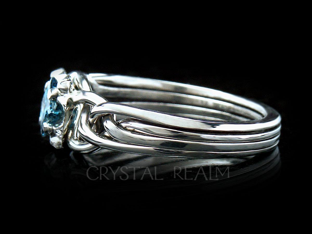 Guinevere Blue Diamond Engagement Puzzle Ring In Platinum Puzzle