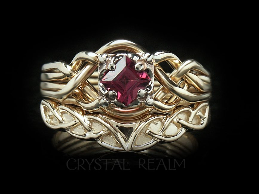 Rhodolite garnet Guinevere puzzle engagement ring in 14K yellow gold with Celtic knotwork shadow wedding band