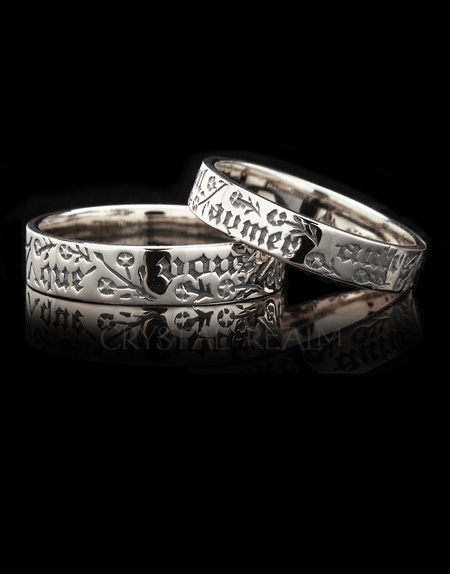 White 14K Gold Posy Rings