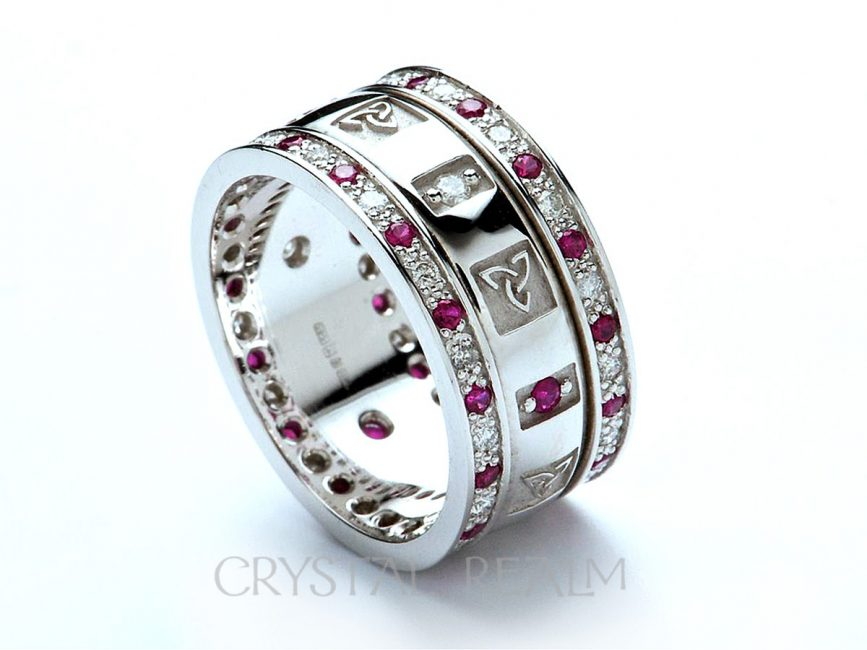Celtic Knot Wedding Bands.Celtic Wedding Rings Women S Trinity Knot Band 14k White Gold With Diamonds And Rubies