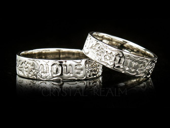 You and No Other, French Traditional Posy Ring, 14K White Gold, No Antiquing