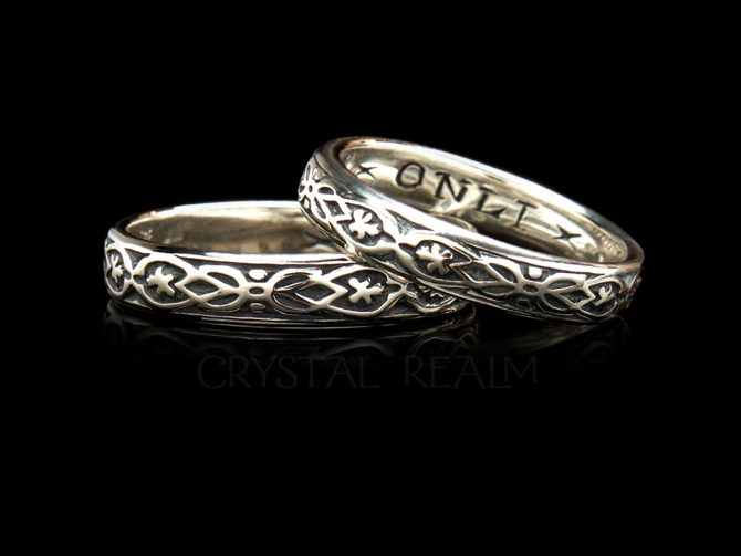 'Yovrs Onli', Traditional English Posy Ring, 14K White Gold