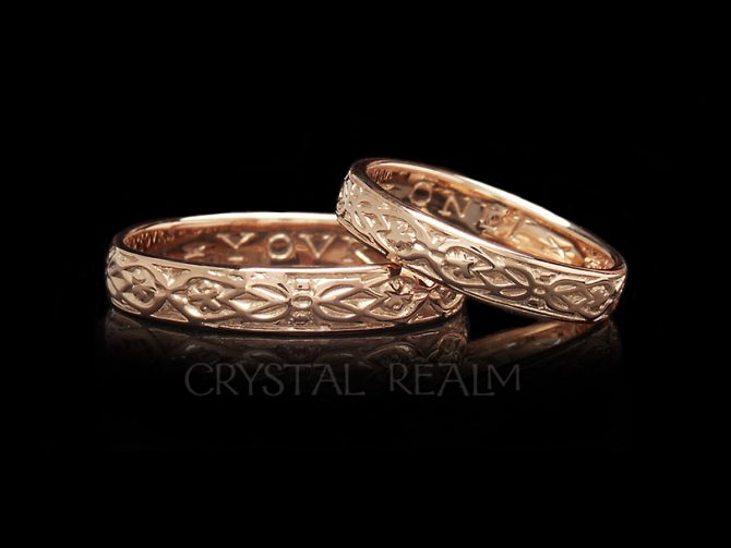 'Yovrs Onli', Traditional English Posy Ring, 14K Rose Gold, No Antiquing